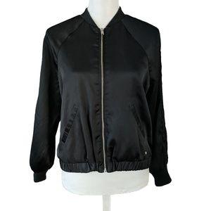Abercrombie & Fitch Satin Bomber Jacket Black
